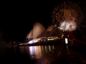 Fireworks behind the Sydney Opera House