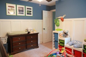 Changing table, wall art, and alligator peg hanger