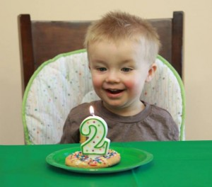 Excited to blow out his candle!