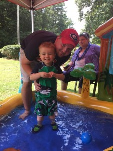 Hanging out in the kiddie pool!