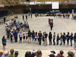 Blue Ridge Rollergirls rolling around during introductions