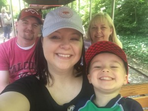Riding the train at the zoo!